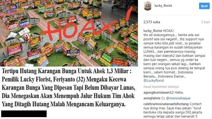 Heboh Screenshot Berita 'Tertipu Utang Karangan Bunga untuk Ahok', Begini Klarifikasi Lucky Florist