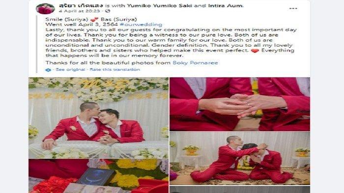 Unggahan di Facebook (pasangan gay menikah di Thailand)