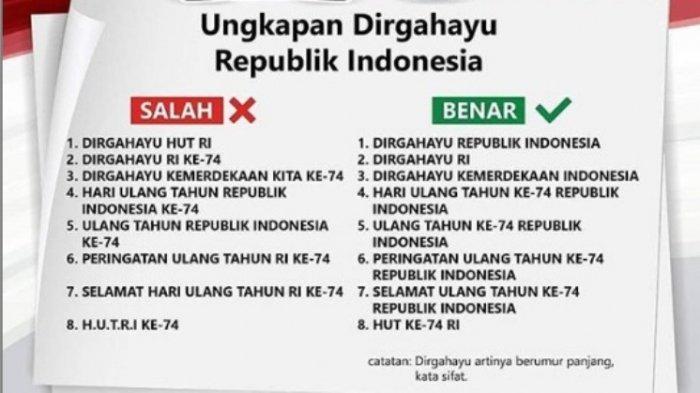 Inilah Kalimat Ungkapan Dirgahayu Ke-74 RI yang Sesuai EYD Bahasa Indonesia, 'Jangan Salah Ya!'