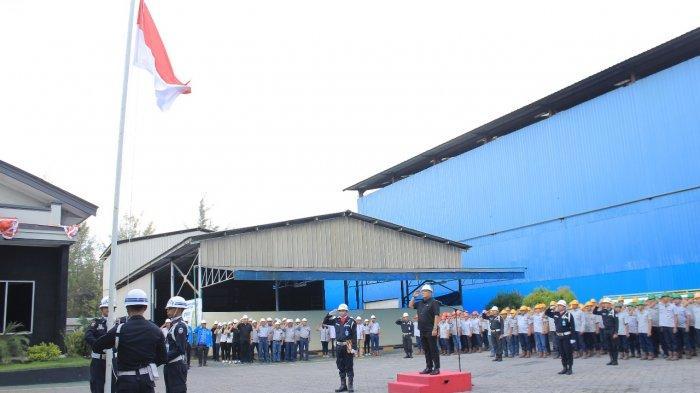RBT Gelar Upacara HUT ke 74 RI di di Halaman Pabrik di Kawasan Industri Jelitik Sungailiat Bangka