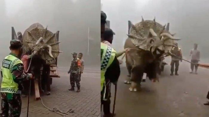 Video Viral Binatang Purba Triceratops Diturunkan dari Truk Dibantu Anggota TNI, Ini Faktanya