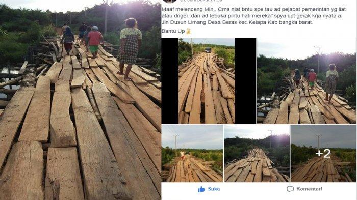 Foto dan Video Jembatan Kayu di Desa Pangkal Beras Bangka Barat Ini Viral