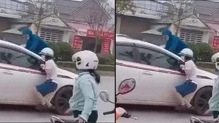 Bak Film Aksi, Istri Kejar Suami Selingkuh, Lompat ke Atas Mobil, Jalan Sampai Macet, Publik Marah