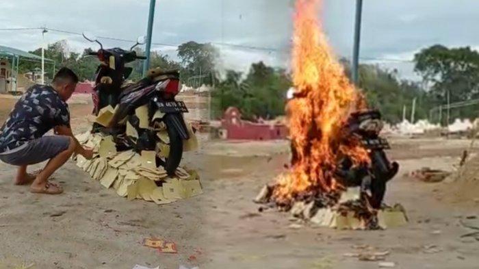 Viral Warga Sengaja Bakar Barang menyerupai Honda Beat Saat Momen Cengbeng di Bangka Belitung