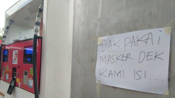 Pengendara Tidak Pakai Masker Tak Dilayani Mengisi BBM di SPBU Kota Pangkalpinang