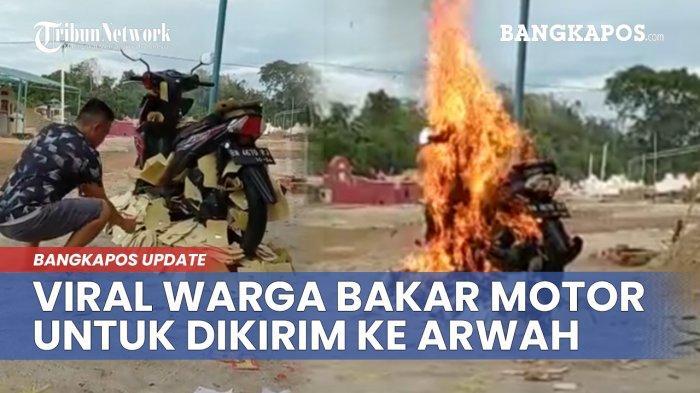 Viral Seorang Pria Bakar Sepeda Motor saat Ceng Beng di Bangka Barat, Sempat Dikira Motor Asli