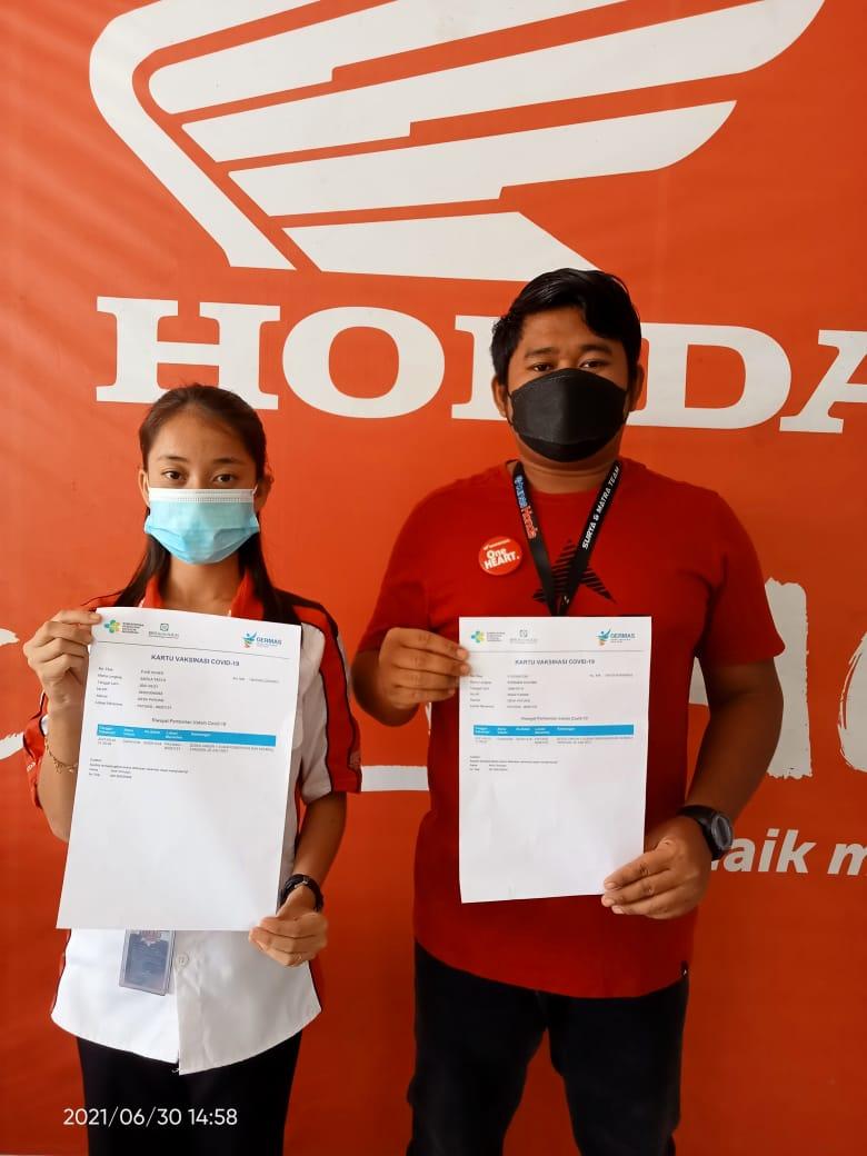 Dealer Tunas Honda Toboali, telah melaksanakan vaksinasi Covid-19 untuk seluruh tim nya di Terminal Toboali dan Polres Bangka Selatan.