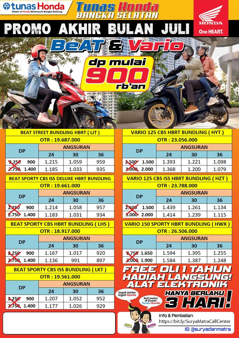 Honda TDM Toboali adakan Promo Akhir bulan Juli hanya dengan membayar DP Rp 900.000