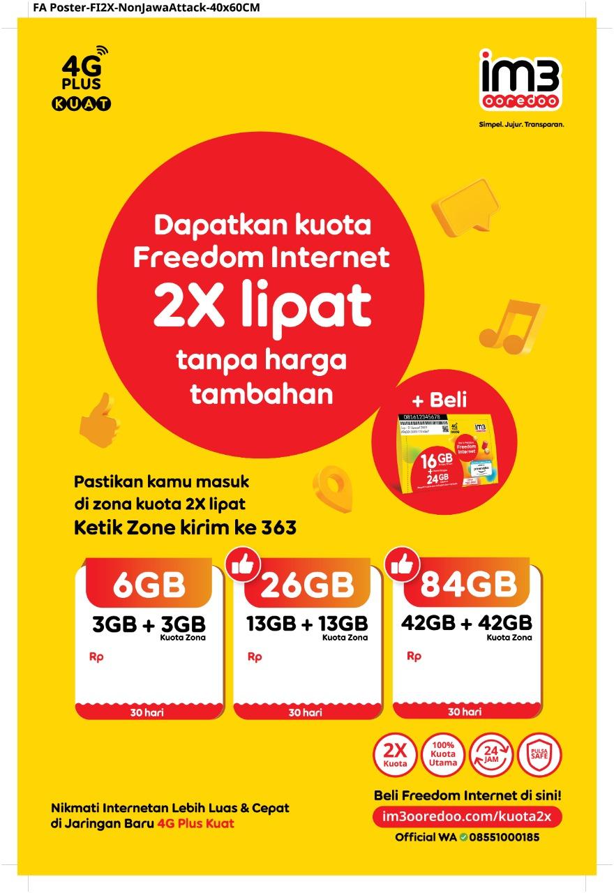 Double Kuota/ Kuota dua kali lipat khsusus paket internet Freedom Internet, mulai dari FI 3GB, FI 6GB, FI 8GB, FI 24GB, setiap paket tersebut akan mendapatkan kuota dua kali lipat di beberapa daerah Bangka dan Belitung