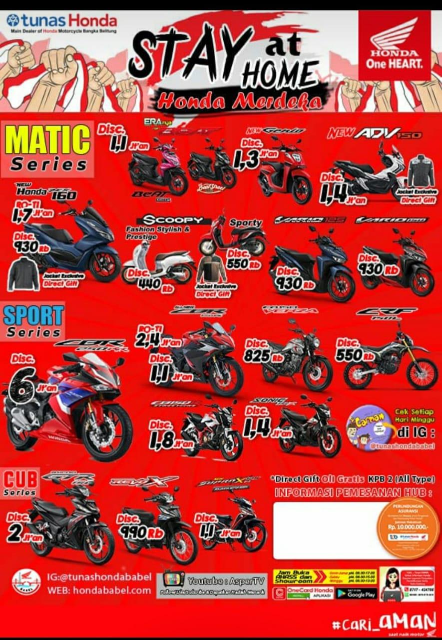 Promo Honda STAY at HOME  Bersama Honda berupa diskon pembelian sepeda motor khusus type sport dari Rp 550 sampaiRp 6jtan, untuk type matic mendapatkan discont Rp.500rb sampe Rp 1,4 jutaan.