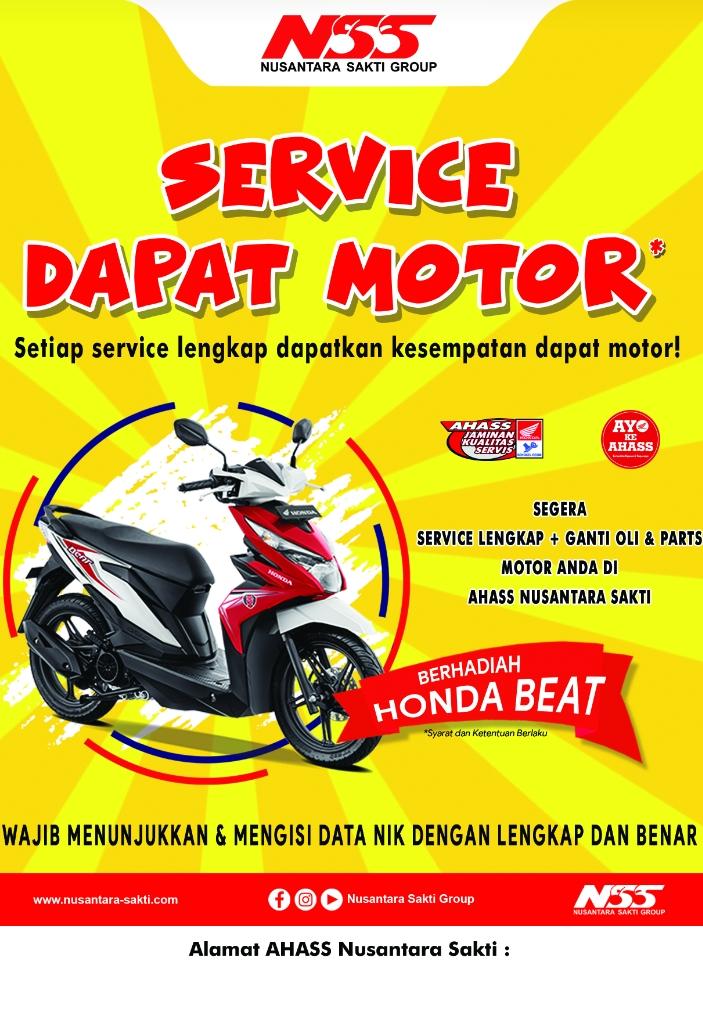 Ahass Nusantara Surya Sakti Sungailiat totalitas tanpa batas akan memberikan undian hadiah Motor Honda Beat kepada konsumen setia Ahass lovers