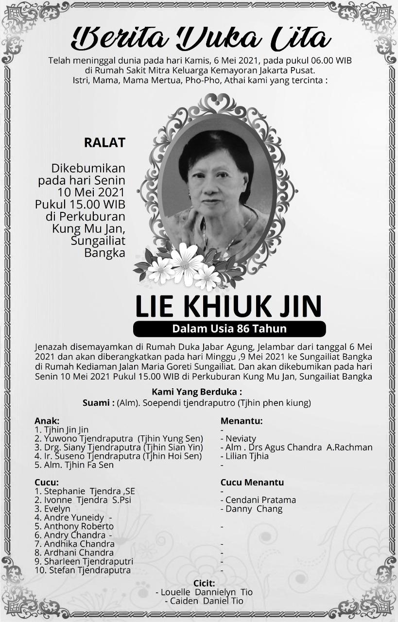 Berita Duka Cita Lie Khiuk Jin