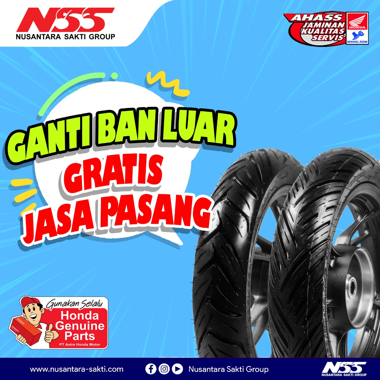 NSS Sungailiat - Promo ganti ban luar gratis jasa pasang