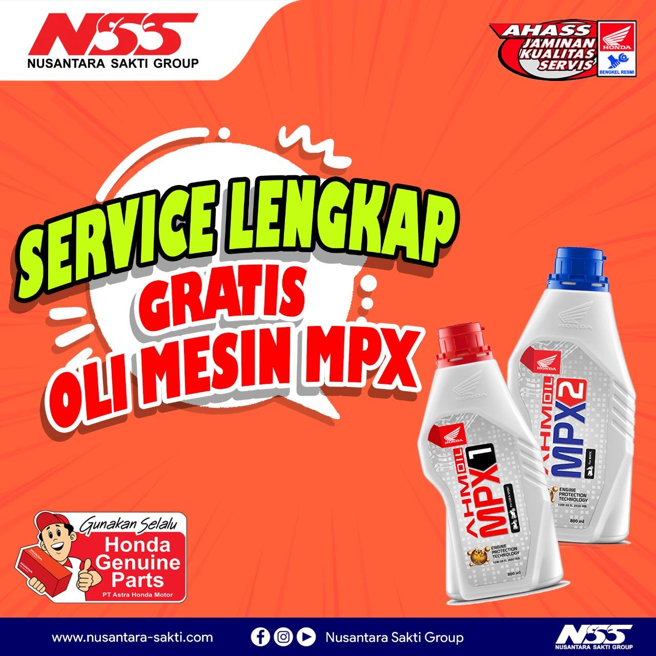 Promo Servis lengkap gratis oli mesin mpx