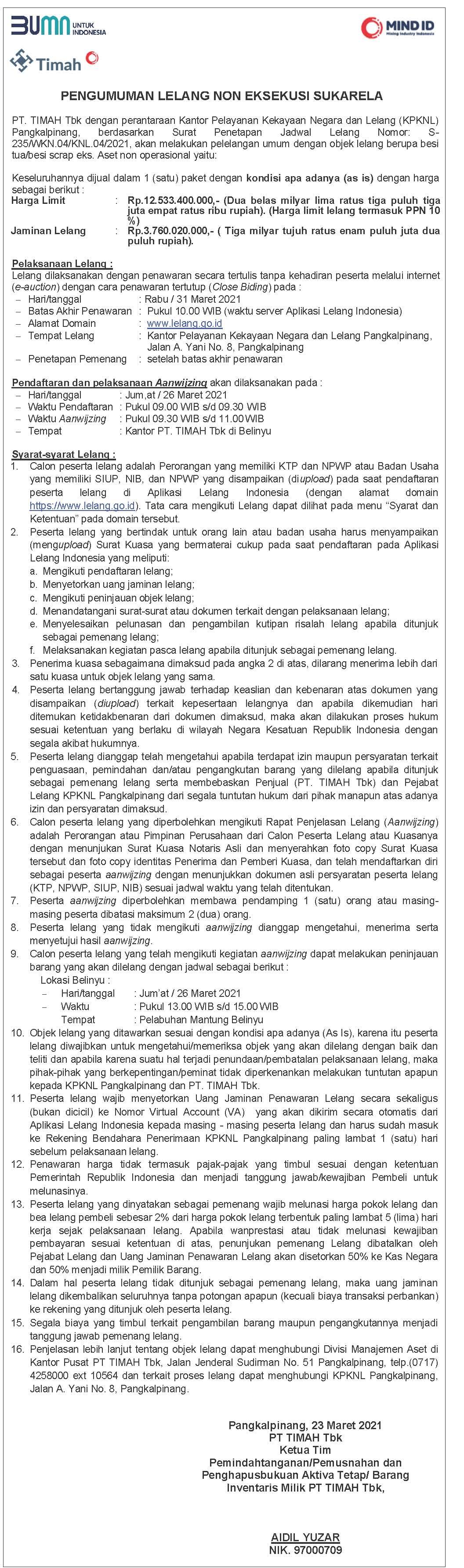 Pengumuman Lelang Non Eksekusi Sukarela Berupa Besi Tua/Besi Scrap Eks. Aset Non Operasional