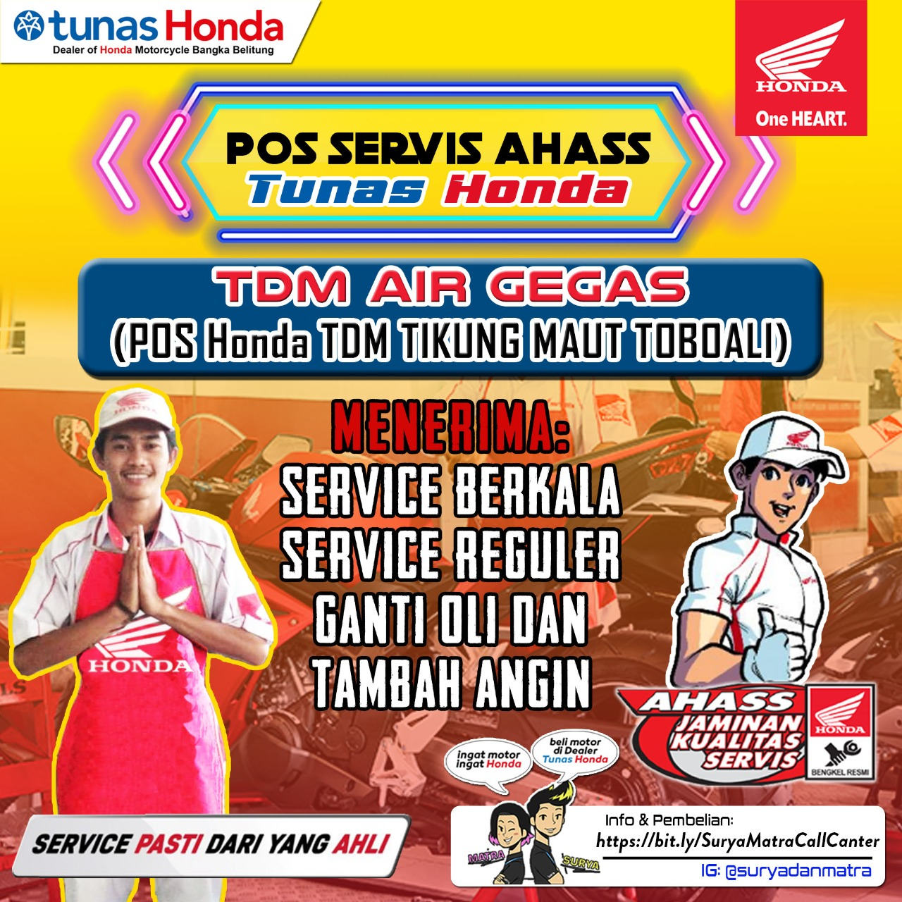 Honda TDM Air Gegas dan Honda TDM Pos Tikung Toboali hadir dengan promo hadiah langsung, baik itu pembelian secara Cash atau pun kredit di bulan Maret 2021.  Hadiah langsung berupa alat elektronik dan Oli sebanyak 2 botol dan Promo ini berlaku untuk semua type Motor Honda.
