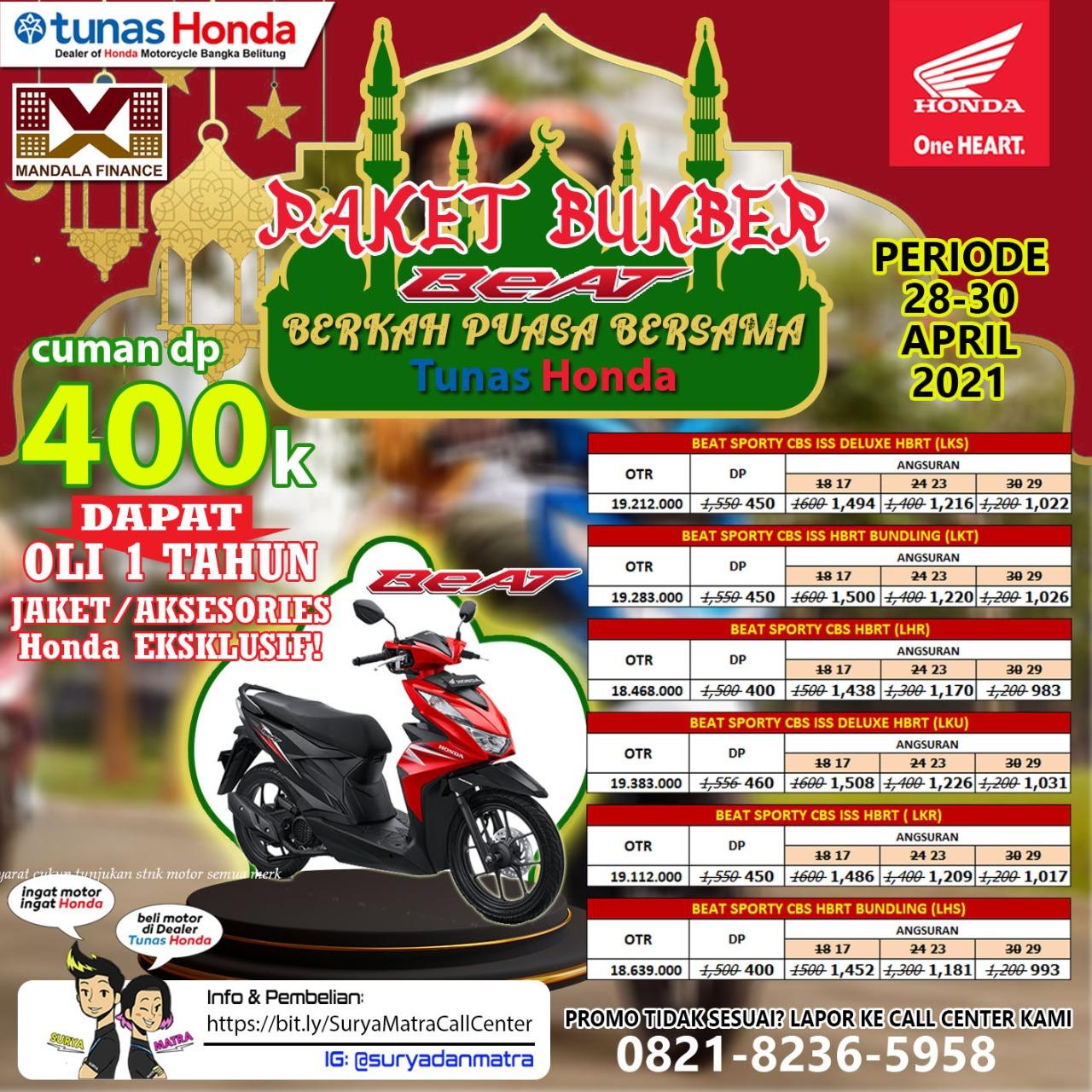 Honda TDM Payung semakin banyak promo di Bulan Ramadhan ini khusus  untuk type motor Beat, Scoopy dan Vario yang berlaku sampai tanggal 30 April 2021.