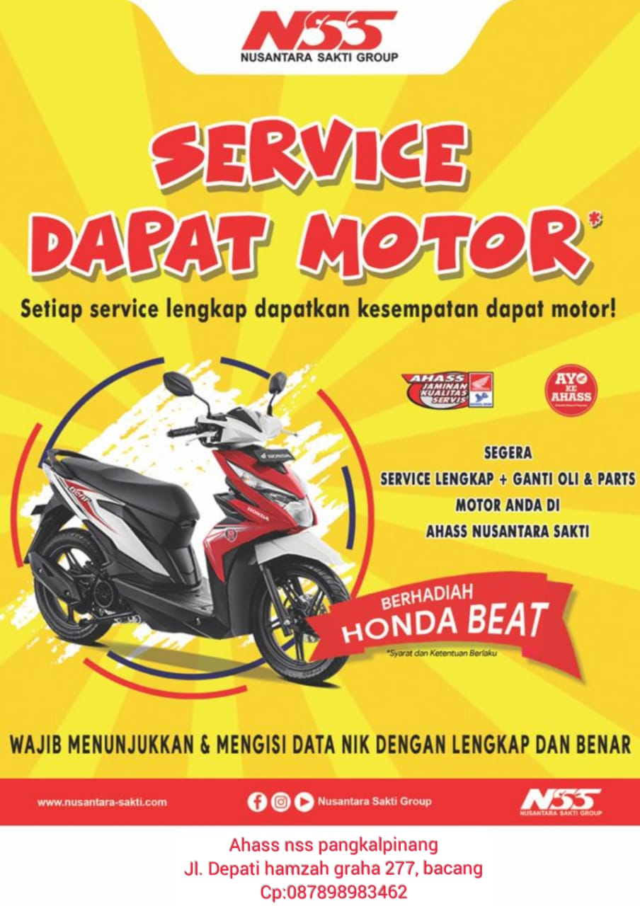 Nusantara surya sakti Pangkalpinang kembali memberikan promo yang fantastis totalitas tanpa batas akan memberikan undian hadiah Motor Honda Beat kepada konsumen setia AHASS Lovers