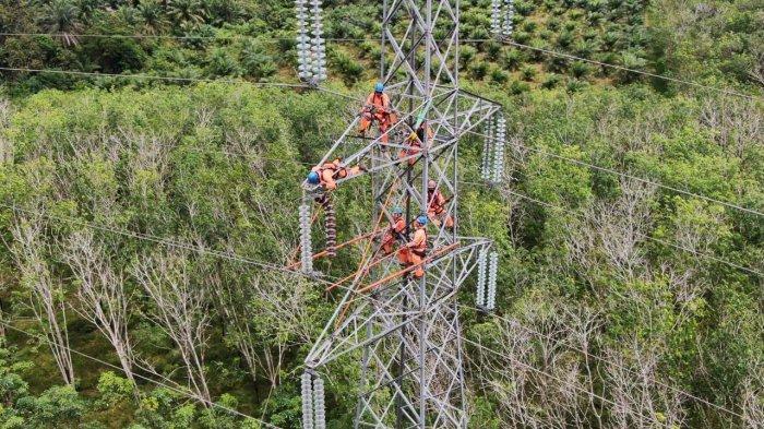 PLN UPT Kalselteng lakukan pemeliharaan penggantian isolator korosi pada tower SUTT 150 kV