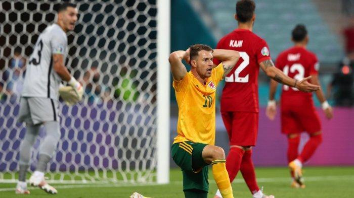 Ekspresi kecewa Aaron Ramsey saat gagal mencetak gol di laga Turki vs Wales matchday kedua Grup A Euro 2020 Rabu (16/6/2021)