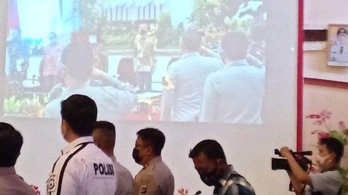 Acara vicon di Pemkab Kotabaru terkait kesiapan penanganan karhutla.