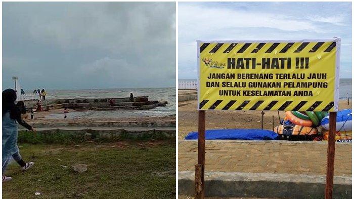 Waspadai Gelombang Tinggi, Dispar Pasang Peringatan di Pantai Takisung dan Batakan