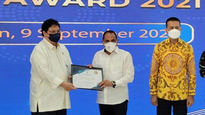 Menteri Koordinator Bidang Perekonomian Airlangga Hartanto, saat menghadiri kegiatan Penyaluran KUR Klaster di Kota Medan, Sumatera Utara