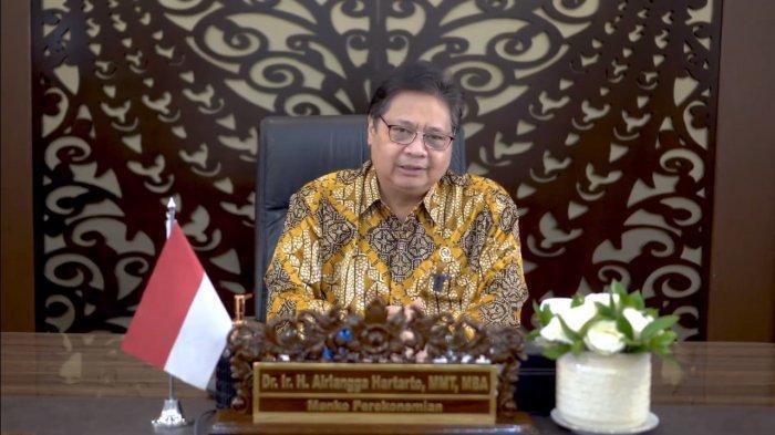 Menteri Koordinator Bidang Perekonomian Airlangga Hartarto dalam Webinar Spesial HUT Koperasi ke 74