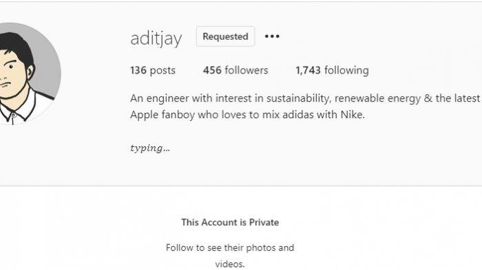 Akun Instagram Adit Jayusman digembok