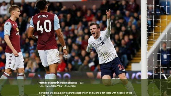 Hasil Liga Inggris Aston Villa vs Liverpool,  Cetak Dua Gol Menit Akhir Liverpool Menang, Skor 1-2