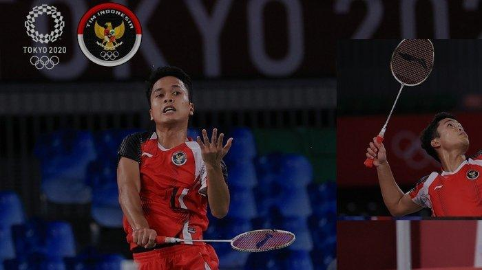 Pebulutangkis Indonesia Anthony Sinisuka Ginting berlaga di Olimpiade Tokyo 2020. Ginting akan memperebutkan medali perunggu Olimpiade Tokyo melawan wakil Guatemala, Kevin Cordon Senin (2/8) malam ini WIB.