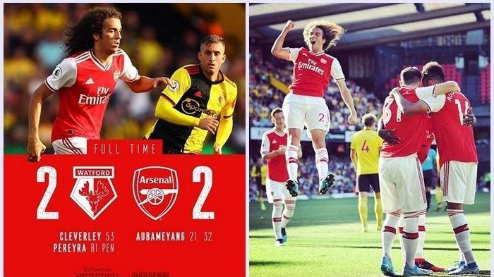 Skor Akhir Watford vs Arsenal 2-2,  Aubameyang Cetak 2 Gol The Gunners Gagal Bawa 3 Poin