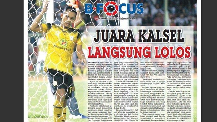 Tabu Bagi Pemain Profesional Barito Putera Turun ke Ligama U-21 Kalsel 2019