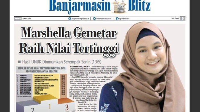 Marshella Gemetar Raih Nilai Tertinggi, Hasil UNBK Kalsel Diumumkan Serampak Senin (13/5/2019)