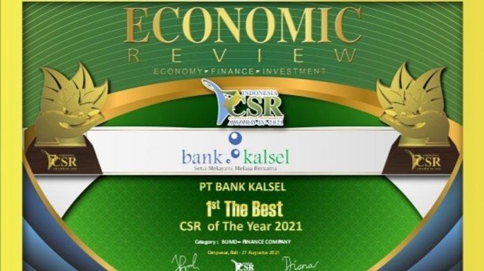 Bank Kalsel dianugerahi penghargaan sebagai 1st The Best – CSR of The Year 2021 pada kategori BUMD – Finance Company pada Gelaran Indonesia CSR Award IV 2021