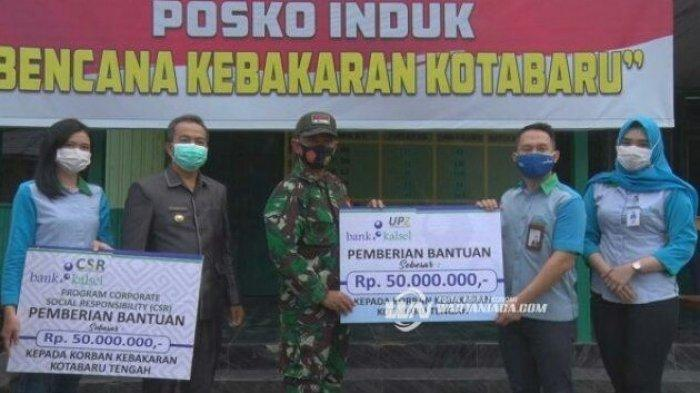 Bank Kalsel Serahkan Bantuan Rp 100 Juta bagi Korban Kebakaran Kotabaru