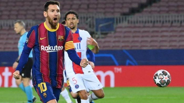 Penyerang asal Argentina, Lionel Messi, melakukan selebrasi setelah mencetak gol dalam laga leg pertama babak 16 besar Liga Champions melawan Paris Saint-Germain (PSG) di Camp Nou, Barcelona, Selasa (16/2/2021) atau Rabu dini hari WIB.