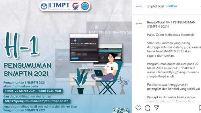 BESOK Hasil SNMPTN 2021 Diumumkan, Klik pengumuman-snmptn.ltmpt.ac.id