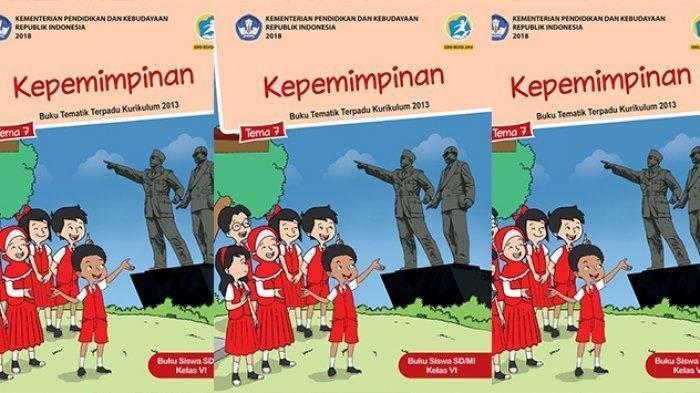 Buku tematik Kepemimpinan tema 7 kelas 6 SD.