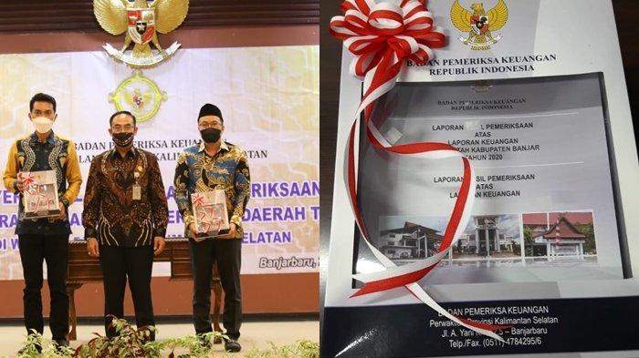 Bupati Banjar Saidi Mansyur menerima dokumen Laporan Hasil Pemeriksaan BPK Perwakilan Kalsel atas Laporan Keuangan Pemerintah Daerah Tahun 2020, Jumat (28/5/2021).