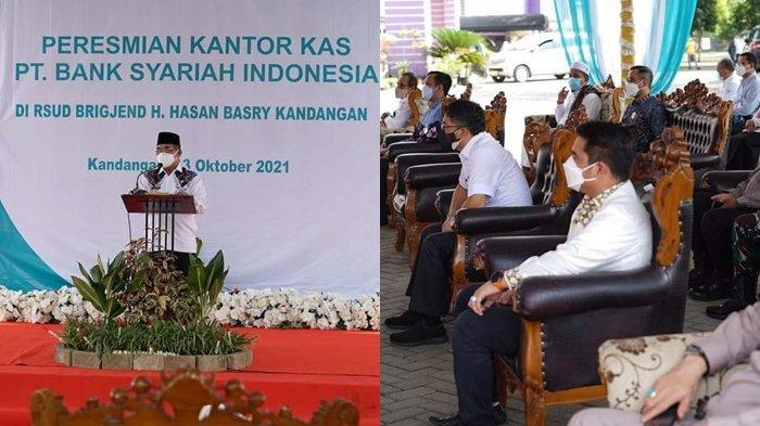 Bupati HSS Drs H Achmad Fikry, meresmikan kantor Kas PT Bank Syariah Indonesia, di Rumah Sakit Umum Daerah Brigjend H Hasan Basry Kandangan, Rabu (13/10/2021).