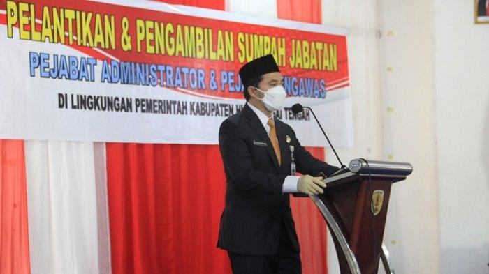 Bupati HST H Aulia Oktafiandi memberikan sambutan.