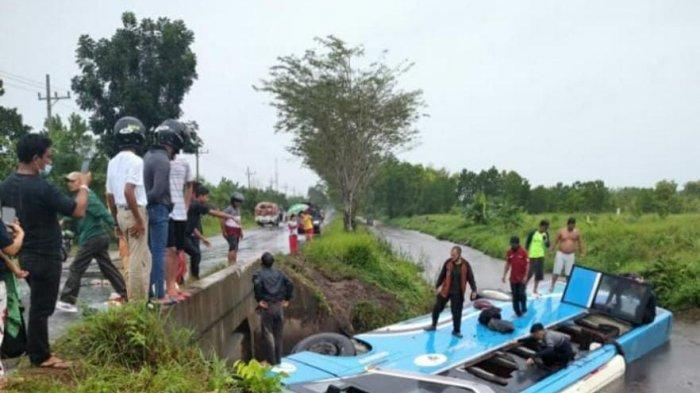 Kecelakaan Kalteng, Bus Damri Nyungsep ke Parit Satu Kilometer Sebelum Terminal Induk Palangkaraya