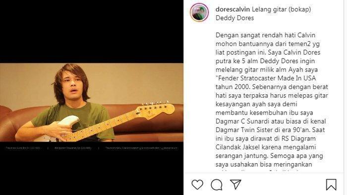 Calvin Dores lelang gitar peninggalan Deddy Dores.