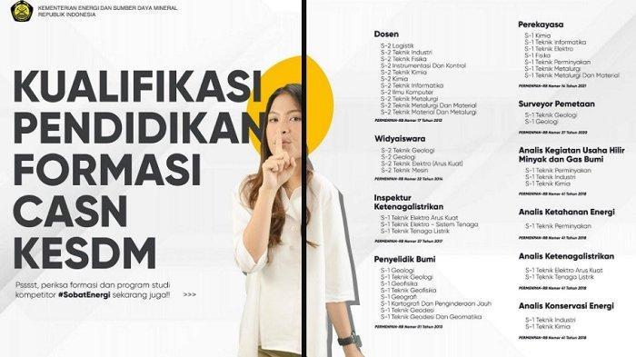 Kualifikasi pendidikan formasi CASN KESDM.
