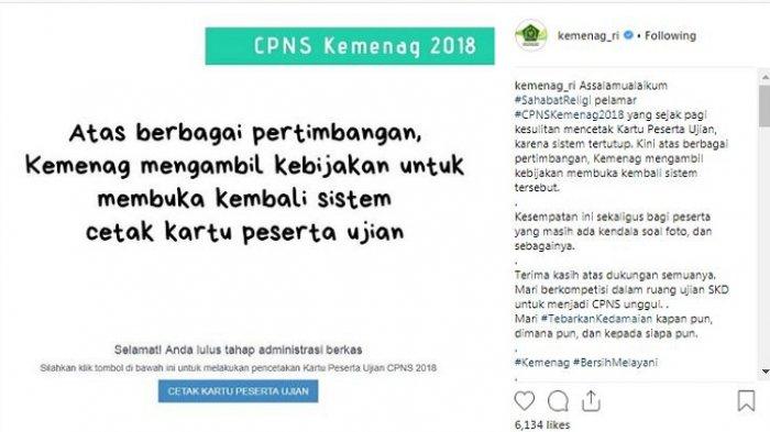 Kemenag Beri Bocoran Jadwal Tes SKD Pendaftaran CPNS 2018, Cetak Kartu Ujian di Sscn.bkn.go.id