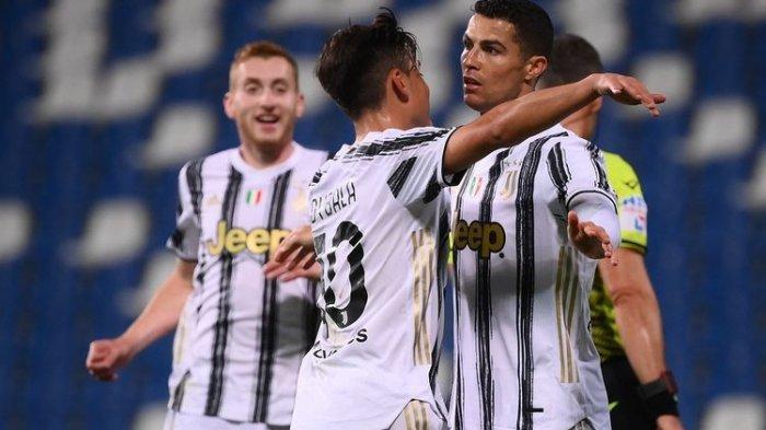 Cristiano Ronaldo dan Paulo Dybala saat membantu Juventus menang di markas Sassuolo pada lanjutan pekan ke-36 Liga Italia, Kamis (13/5/2021) malam WIB.