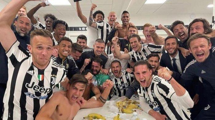 Cristiano Ronaldo dkk merayakan keberhasilan Juventus ke Liga Champions musim 2021/2022