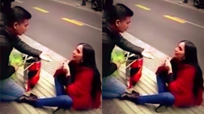 Wanita Cantik ini Melamar Pacar Prianya di Trotoar, Yang Terjadi Bikin Hati Siapa Pun Terenyuh