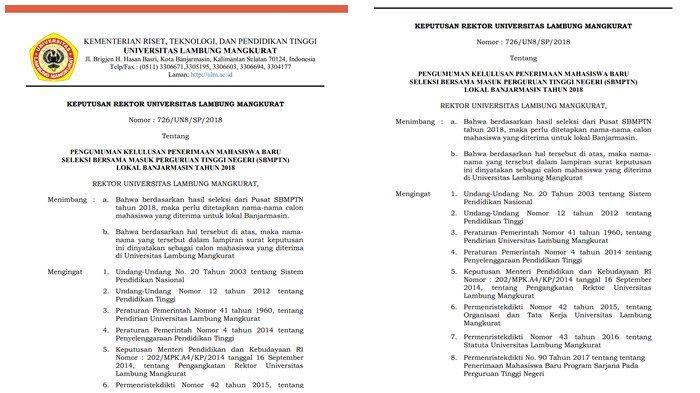 Jadwal Daftar Ulang Peserta Lolos SBMPTN ULM 2018 dan Langkah-Langkahnya